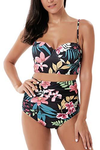 Seanami Dazzling Women Retro Vintage High Waisted Push Up Bikini Set Two Pieces Swimsuit Bathing Suit