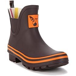 Evercreatures Women's Rain Boot Ankle Boots Waterproof Rain Footwear Cute Animal Print Colorful Meadow Wellies UK Brand