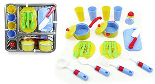 Pretend and Play Childrens Kitchen Dishes Set for Kids, Soft Blue and Yellow 25 Piece set with Drainer