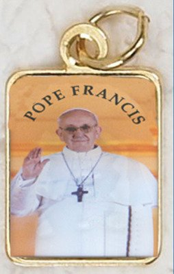 Pope Francis Gold Tone Rectangular Medal