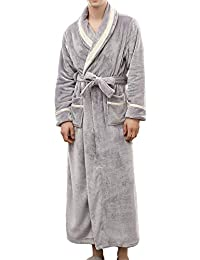 Winter Unisex Luxurious Mens Womens Shawl Collar Fleece Bathrobe Spa Robe Blue