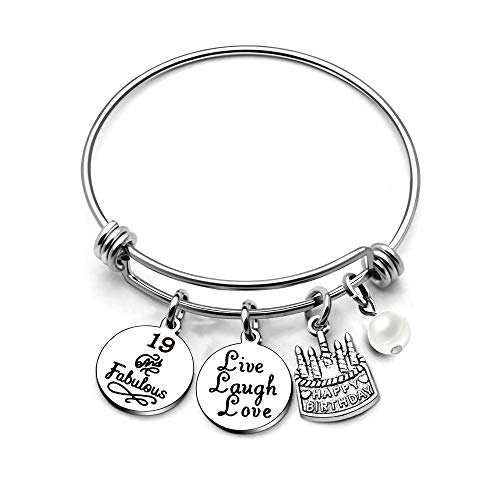 AGR8T Bangle Bracelets Gifts for Her Happy Birthday Bangles Cake Live Laugh Love Charms Women Girl (19th Birthday)