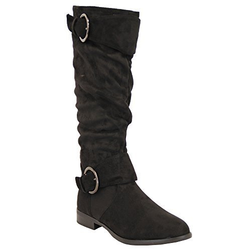 Ladies Boots Womens Long Knee Calf Suede Look Shoes Buckle Fleece Lined Winter Black - Y810