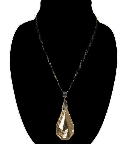 J.S Water Drop Long Sweater Chain Crystal Statement Pendant Necklace