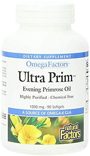 Natural Factors - Ultra Prim Evening Primrose Oil 1000mg, A Natural Source of Omega-6 GLA, 90 Soft Gels