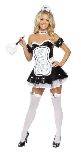 Vinyl French Maid Costume (Roma Costume 4 Piece Maid In La Costume, Black,)