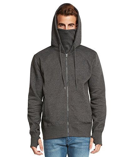 Young Man Mask - 9 Crowns Men's Fleece Full-Zip Ninja Hoodie Essentials-Charcoal-Large