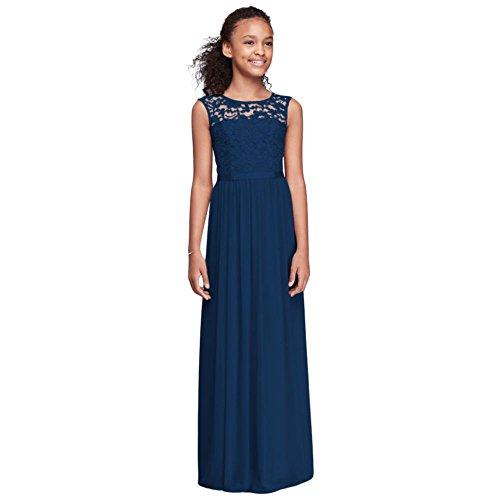 David's Bridal Cap Sleeve Lace and Mesh Long Girls Dress Style JB9479, Marine, 16 by David's Bridal