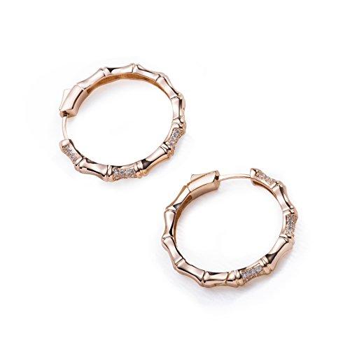S.Leaf Minimalism Bamboo Hoop Earrings Round Circle Dangle Earrings (rose gold plated)