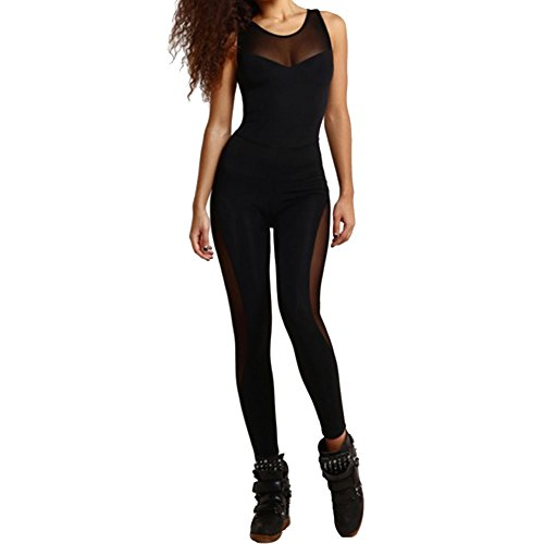(Sherro Women Sexy Backless Hollow Out Dance Sports Playsuit Bodycon Bodysuit Catsuit Yoga Jumpsuit Rompers,Medium,#1)
