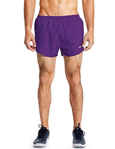 Baleaf Men's Quick-Dry Lightweight Pace Running Shorts Purple Size M