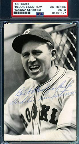FREDDIE LINDSTROM PSA DNA Autograph Photo Postcard Authentic Hand Signed from KHW HALL OF FAME GALLERY