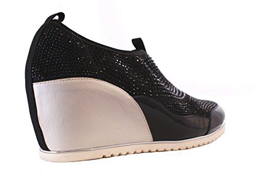 Passione Di Gina Omg Italienskt Läder Mode Sneaker I Svartvitt Svartvitt
