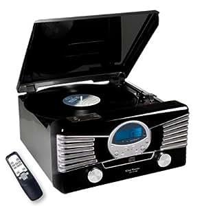 Clip Sonic CH1018E - Minicadena con tocadiscos estéreo y puerto USB, color negro
