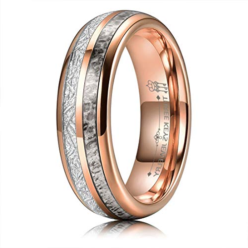 THREE KEYS JEWELRY 6mm Rose Gold Tungsten Carbide Ring with Real Antler Imitated Meteorite Inlay Dome Hunting Wedding Band Engagement Ring Size 9.5