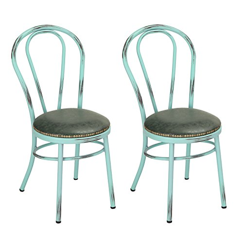 Home's Art Round Vintage-Style Shabby Chic U-Back Dining Chair With Full Back And PU Cushion, Aquamarine (SET OF 2) Seat Height: 18 inches ()