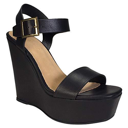 BAMBOO Women's Single Band Wedge Platform Sandal with Quarter Strap, Black PU, 10.0 B ()
