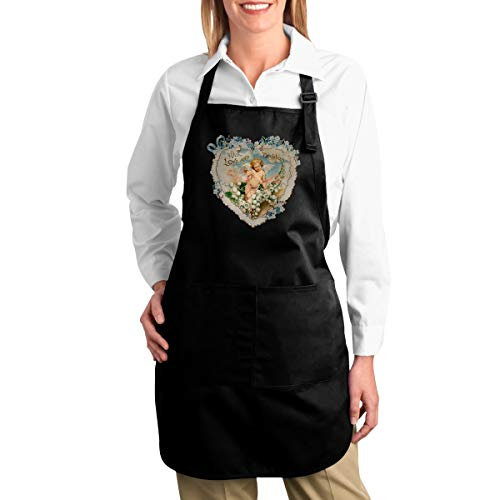 OURFASHION Apron Happy Valentines Day Cupid Flowers Bouquet Adjustable Bib Apron with Pockets for Women and Men Home Kitchen Garden Restaurant Cafe Bar Pub Bakery ()