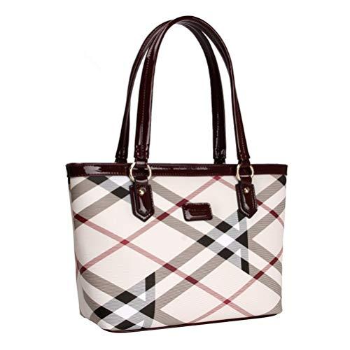 Lady Women Designer Stylish Grid Top-Handle Handbag Leather Check Shopping Tote Shoulder Bag Red