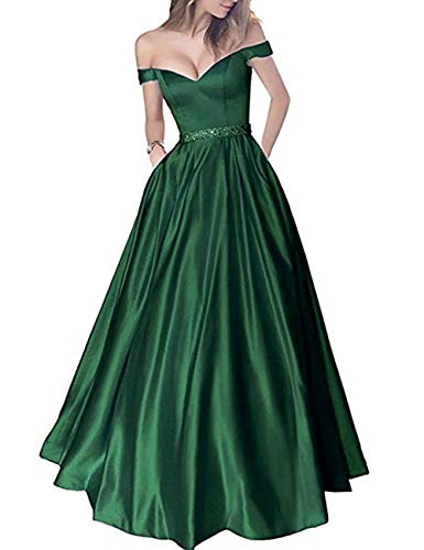 Green Party Shoulder Bridal Pockets Evening Prom Beaded Women's Off Dark Bess Dress wCPn8qRZC