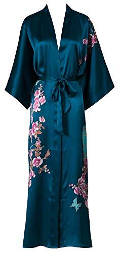 Silk Kimono Women's Long Robe Nightgown- Handpainted Sleepwear