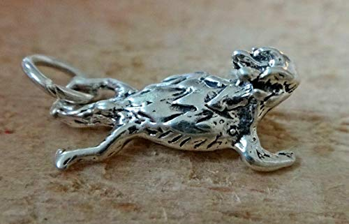 Fine Charms Sterling Silver 3D 15x10x6mm Texas Horned Toad Frog 3 Dimensional Frog Charm