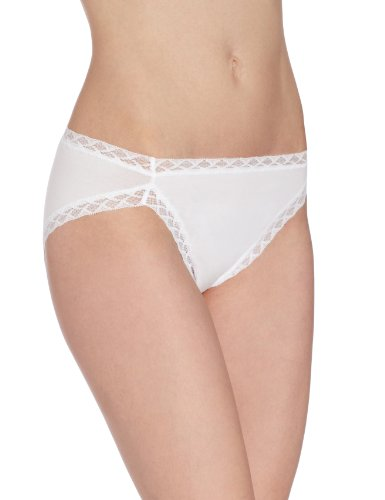 Natori Women's Bliss Cotton French Cut Panty, White, Medium