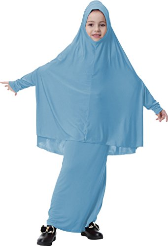 Ababalaya Muslim Islamic Girl's Full Length Two-piece Prayer Dress Abaya Set for Hajj Umrah,Sky Blue,L Suitable for Height 4'3