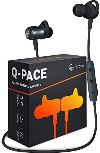 Strock Q-PACE Wireless Earbuds with Bluetooth 5.0, Magnetic On Off Aluminum Design – High-End Sound, in-Ear Headphones with Microphone, 9 Hrs Playtime, Running Earphones for Sports, 2020