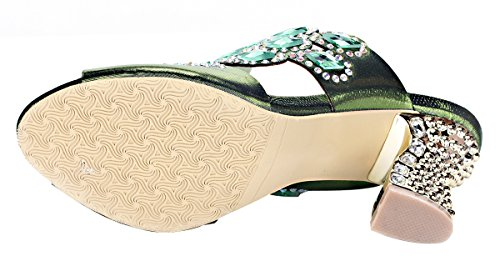 Honeystore Women's Handmade Rhombus Rhinestone Chunky Heel Sandals Green free shipping authentic sale sneakernews clearance for cheap discount order wP7hnFC