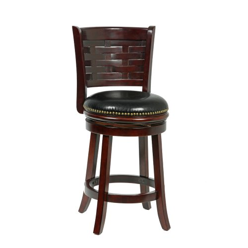 Mintra Cappuccino Finish Woven Back 24 Inch Swivel Counter Stool