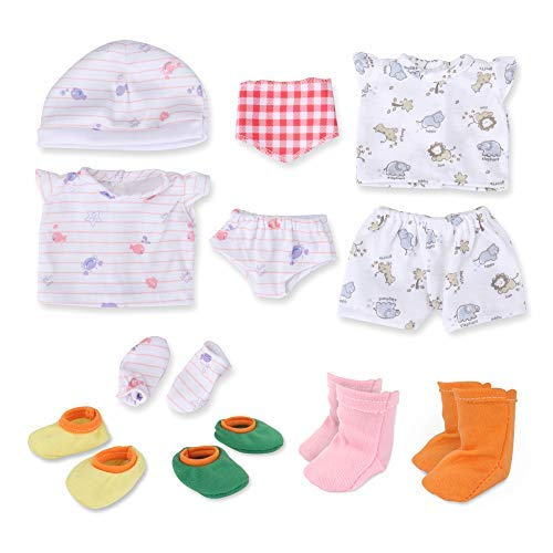 Socks Accessories Clothing - WakaoFeeling Baby Doll Clothes Shoes for 10-11-12 Inch Alive Dolls Include Bibs Mittens Socks Accessories Set