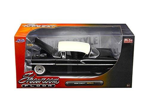 Jada 98895 1958 Chevrolet Impala Black Showroom Floor 1/24 Diecast Model Car