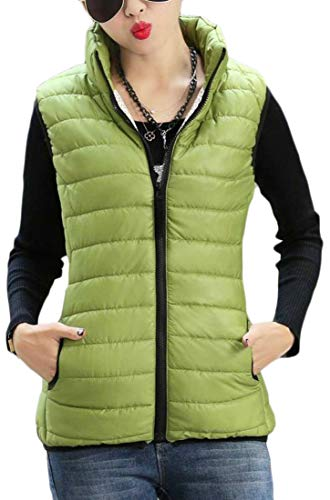 Stand Green Vest Pure Womens Puffer Quilted Collar Vest H Down amp;E Color Zipper Warm vOvxX