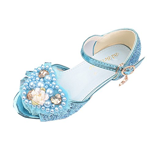 Super frist Girls Shoes Korean Flat Shoes Children Princess Party Wedding Shoes(Blue-30/12 M US Little Kid) -