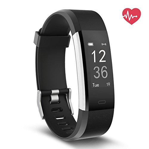 Fitness Tracker - NewYouDirect Heart Rate Monitor Pedometer Activity Tracker Smart Watch Wrist Band with Sleep Monitor Calorie Step Counter Bluetooth 4.0 for Android IOS (Black)