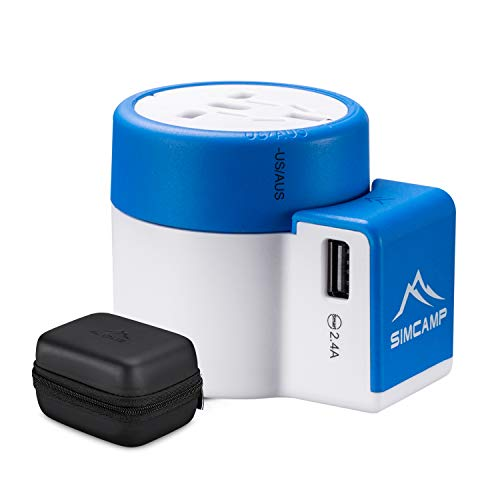 SIMCAMP International Universal Travel Power Adapter Plug with USB Charging Ports for Europe USA UK AUS 150+ Countries, Storage Case Included