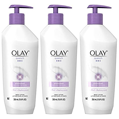 OLAY Quench Shimmer Body Lotion Pump 11.80 oz ( Pack of 3) (Packaging May Vary) - Body Lotion Deep Moisture