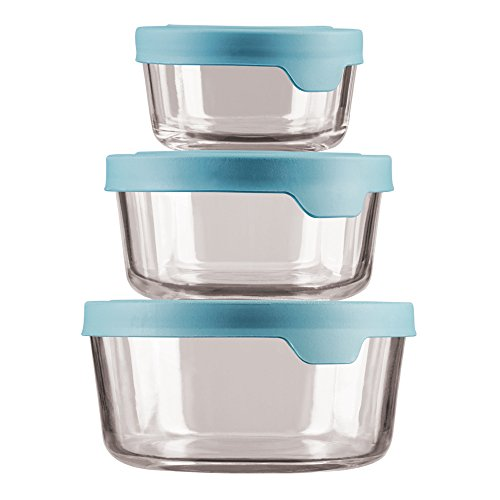 TrueSeal Glass Food Storage Containers with Mineral Blue Airtight Lids, 6-Piece Round Set, N ()