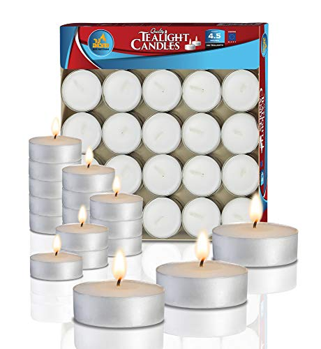 Ner Mitzvah Tea Light Candles - 100 Bulk Pack - White Unscented Travel, Centerpiece, Decorative Candle - 4.5 Hour Burn Time - Pressed -
