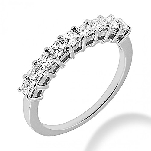 Prong Shared (0.95 ct. Ladies Diamond Princess Cut Wedding Band in Shared Prong Mounting in 14 kt White Gold In Size 4)
