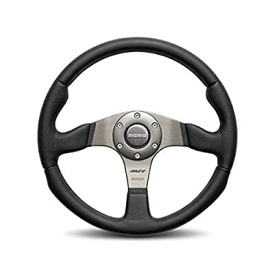 Momo RCE35BK1B Race 350 mm Leather Steering Wheel,Black: Automotive