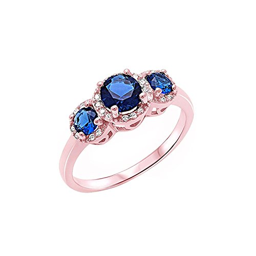 3 Stone Halo Wedding Band Ring Simulated Blue Sapphire Round CZ Rose Tone 925 Sterling Silver, (Round Blue Sapphire Rose)