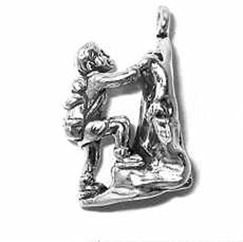 Sterling Silver Girls 30'' .8mm 3D Man Woman Short Haired Climbing Mountain Climber Pendant Necklace by Auntie's Treasures