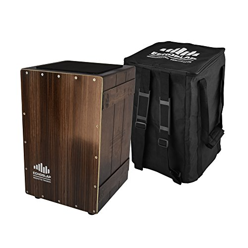 Echoslap Vintage Crate Cajon -Ebony, Hand Crafted, Siam Oak Body, Maple Front Adjustable Snare by Echoslap Percussion