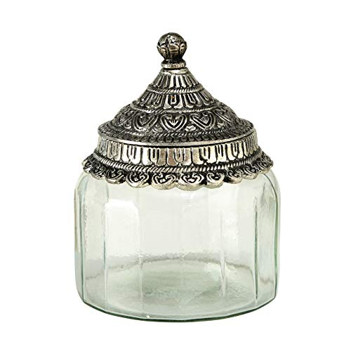WHW Whole House Worlds Grand Tour Jar, Iconic Palmetto Patterned Metal, Conical Knob Top, Textured Clear Glass, 5 Inches Diameter x 6 Inches Tall