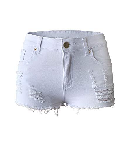Aodrusa Womens Ripped Denim Shorts Mid Waist Sexy Short Cutoff Distressed Short Jeans White US -