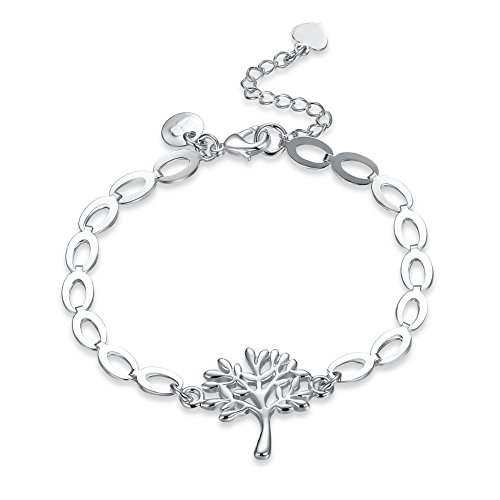 """Tree of Life""Sterling Silver Plated Hand Chain Link Bracelet 8 Inches Gift for Women & Girls"
