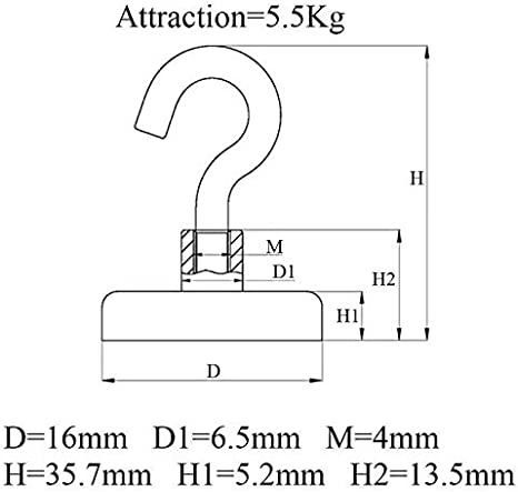 Farbe : Schwarz super leistungsf/ähige Neodym-Magneten for h/ängend NO LOGO KF-Hooks Magnethaken 12 Lbs Heavy Duty Magnet Haken D16 Multi-Purpose Indoor Outdoor
