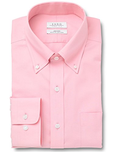Enro Pinpoint - Enro Men's Non-Iron Classic Fit Pinpoint Oxford Dress Shirt, Pink, 17.0 x 34/35